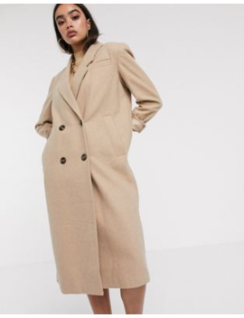Asos Design Double Breasted Longline Coat In Camel by Asos Design