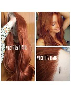 Ginger Mango Copper Auburn Mix Swiss Lace Front Wig. Human Hair Blend.Heat Safe by Etsy