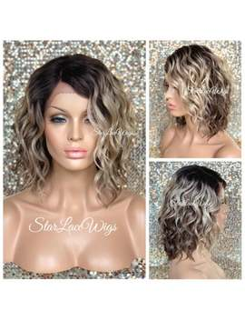 Lace Front Wig   Bob   Ash Blonde   Ombre   Brown Roots   Wavy   Layers   Heat Resistant by Etsy