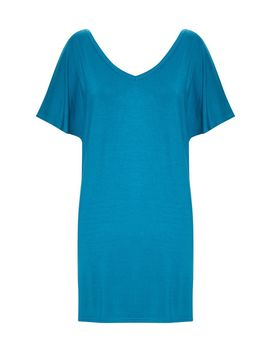 Petrol Blue Basic V Neck T Shirt Dress by Prettylittlething