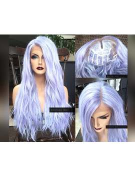 Pastel Wig Lace Front Wig / Long Lilac Purple Curly Cosplay Gray Unicorn Wig / Goth Lolita Lavender Heat Synthetic Wigs For Women by Etsy