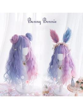 Bunny Bonnie   Long Wavy Ash Lavender Ombre Wig With Short Bangs, Pastel Smoky Lavender Wig, Pastel Purple Wig, Cosplay, Lolita Fashion by Etsy