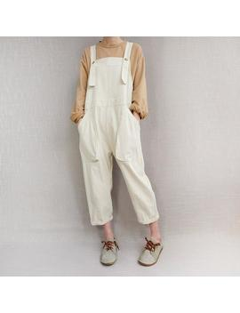 Women Casual Cotton Dungarees Adjustable Overalls, Summer Cotton Jumpsuits Pants Loose Bib Wide Leg Pants With Pockets by Etsy