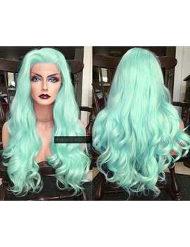 Mint Green Wig // Lace Front Wig // Long Curly Cosplay In Pastel Blue // Thick Mermaid Unicorn Wig // Synthetic Wigs For White Women by Etsy