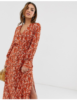 Y.A.S Ditsy Floral Midi Dress With Covered Belt Detail by Y.A.S