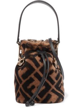 Mon Trésor Mini Leather Trimmed Shearling Bucket Bag by Fendi