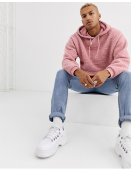 Asos Design Oversized Hoodie In Pink Borg by Asos Design