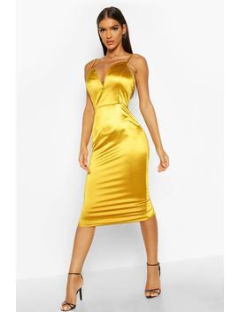 v-bar-strappy-midi-stretch-satin-dress by boohoo