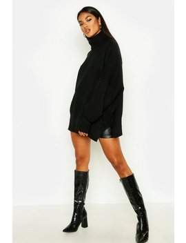 Oversized Balloon Sleeve Turtle Neck Knitted Jumper by Boohoo