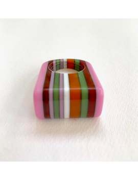 Vintage Sobral Laminated Resin Lucite Stripe Ring   Size 6.75 As Is by Etsy
