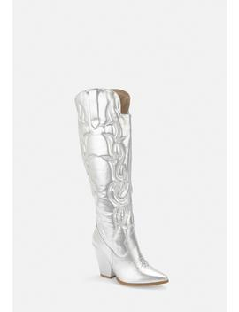 Silver Faux Leather Padded Western Cowboy Boots by Missguided