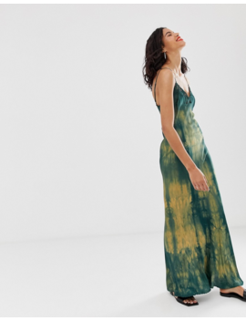 &Amp;Amp; Other Stories Tie Dye Midi Slip Dress In Green And Yellow by &Amp; Other Stories