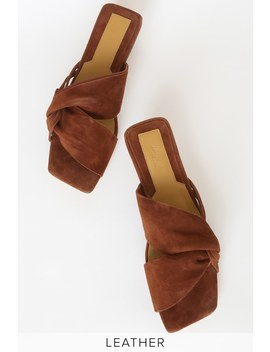 Gathered Chocolate Brown Suede Leather Slide Sandals by Jaggar