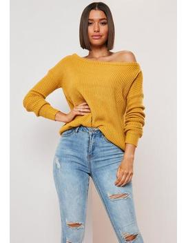 Mustard Off The Shoulder Jumper by Missguided