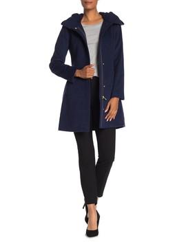 Wool Blend Zip Font Hooded Coat by Cole Haan