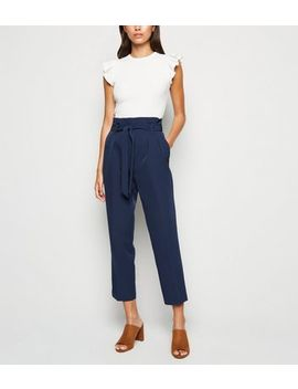 Navy High Waist Paperbag Trousers by New Look