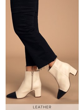 No One Like You Off White And Black Leather Ankle Booties by Seychelles