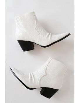 Devon White Crocodile Pointed Toe Ankle Booties by Matisse