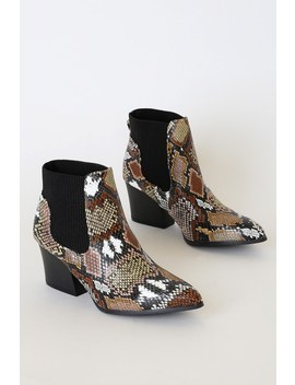 Korie Camel Multi Snake Pointed Toe Ankle Booties by Lulu's