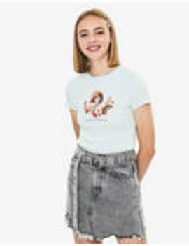 Тениска с щампа by Bershka