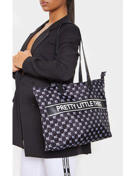 Prettylittlething Monogram Monochrome Nylon Tote Bag    by Prettylittlething