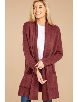 Steal A Moment Burgundy Cardigan by Dreamers By Debut