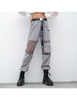 Suchcute Women Pants In A Cage Pocket High Waist Reflective Grey Gothic Korean Style Hippie Joggers Female Korean Style Pantolon by Ali Express.Com