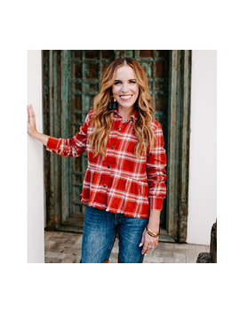 Rachel Hollis Ltd Button Front Flannel Peplum Top by Classic To Cute  Like, Date Night Cute We're Going There.