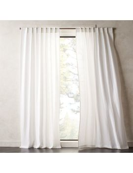 Heavyweight White Linen Curtain Panel by Crate&Barrel