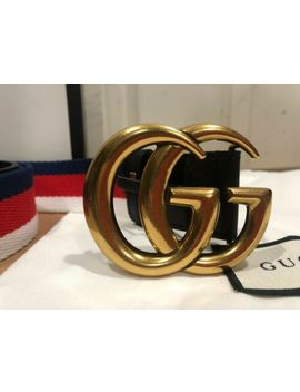 Gucci Belt White Red Blue Gold Brass Buckle Size 30 32 Original 90 Cm by Gucci