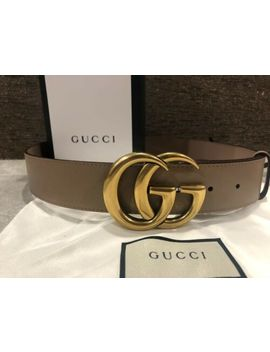 New Gucci Belt Dusty Pink With Gold Brass Double Gg Size 80 Cm Original by Gucci
