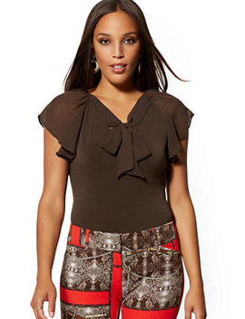 Tie Front V Neck Top   7th Avenue by New York & Company