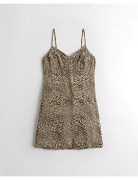 Leopard Crepe Slip Dress by Hollister