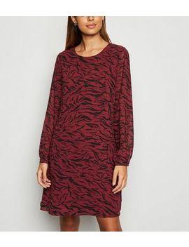 Red Chiffon Tiger Print Tunic Dress by New Look