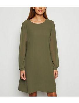Khaki Chiffon Tunic Dress by New Look