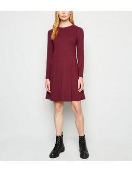 Burgundy Long Sleeve Mini Dress by New Look
