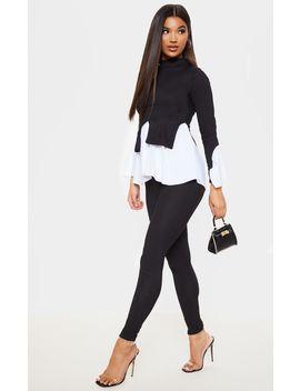 Black Peplum Sweater &Amp; Pants Set by Prettylittlething