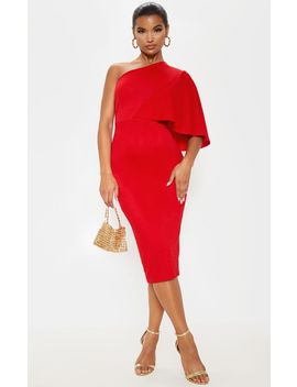 Red One Shoulder Cape Midi Dress by Prettylittlething