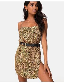 Datista Slip Dress In Mini Tiger Brown By Motel by Motel