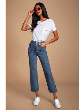 Ribcage Medium Wash Denim High Rise Straight Leg Cropped Jeans by Levi's