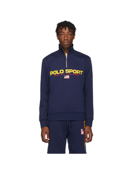 Navy Fleece 'polo Sport' Half Zip Sweatshirt by Polo Ralph Lauren