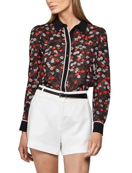 Poppy Print Contrast Detail Blouse by Reiss