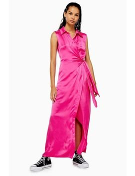 **Hot Pink Silk Maxi Dress By Boutique by Topshop