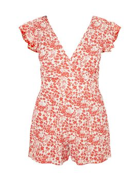 Red Ditsy Floral Wrap Playsuit by Prettylittlething