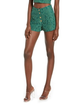 Kacey Button Front Embroidered Lace Shorts by 4 Si3 Nna