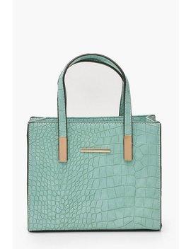 Croc Mini Tote Day Bag by Boohoo