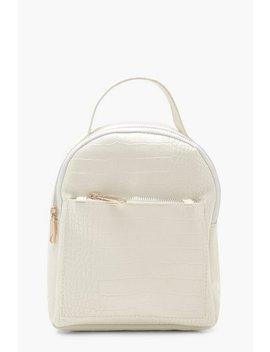 croc-zip-front-mini-rucksack by boohoo