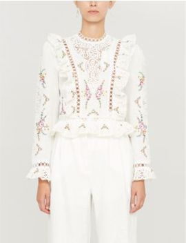 Allia Lace Detail Linen And Cotton Blend Top by Zimmermann