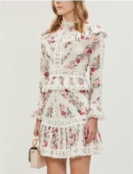 Honour Floral Patterned Cotton Mini Skirt by Zimmermann