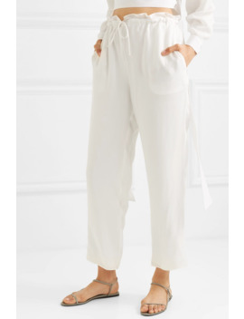 Cropped Cupro Straight Leg Pants by Sally La Pointe